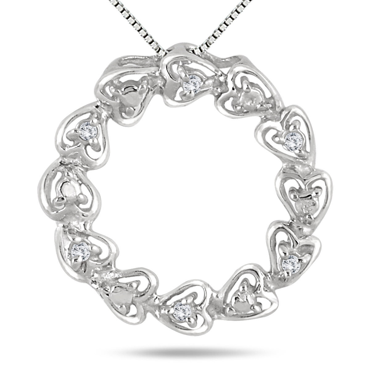 1/10 Carat Diamond Circle Heart Pendant in .925 Sterling Silver