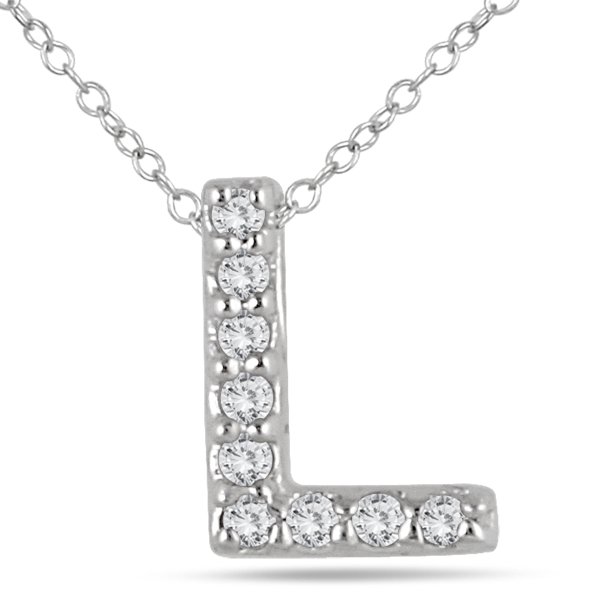 A stunning diamond initial pendant set with genuine white diamonds in 10K white gold. This personalized L diamond pendant is perfect for everyday wear. The pendant features 9 fiery white diamonds weighing a total of .06 carats. The stones are graded with an J-K-L color and an I2-I3 clarity. The stones have a white color and a sparkle. Diamond initial pendants are a stylish symbol of self or those one loves. The pendant measures 8x6mm and hangs from an 18 inch chain also crafted in white gold. A nice charm size pendant that can be worn alone or with other necklaces. Detailed setting workmanship combine with a durable gold setting and hand matched diamonds to create a personalized pendant that is sure to be treasured forever.
