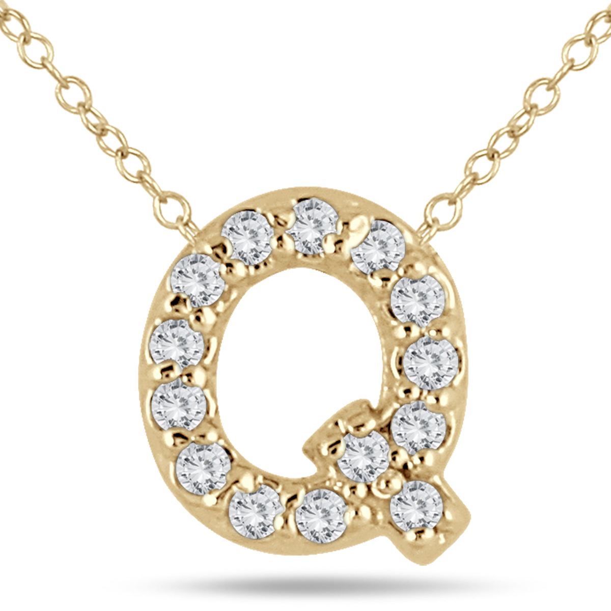 A stunning diamond initial pendant set with genuine white diamonds in 10K yellow gold. This personalized Q diamond pendant is perfect for everyday wear. The pendant features 14 fiery white diamonds weighing a total of .11 carats. The stones are graded with an J-K-L color and an I2-I3 clarity. The stones have a white color and a sparkle. Diamond initial pendants are a stylish symbol of self or those one loves. The pendant measures 8x7mm and hangs from an 18 inch chain also crafted in yellow gold. A nice charm size pendant that can be worn alone or with other necklaces. Detailed setting workmanship combine with a durable gold setting and hand matched diamonds to create a personalized pendant that is sure to be treasured forever.