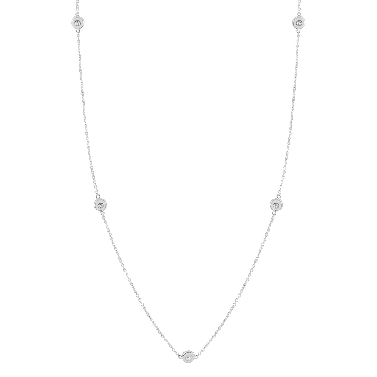 1/10 Carat 36 Inch Diamond Necklace in .925 Sterling Silver