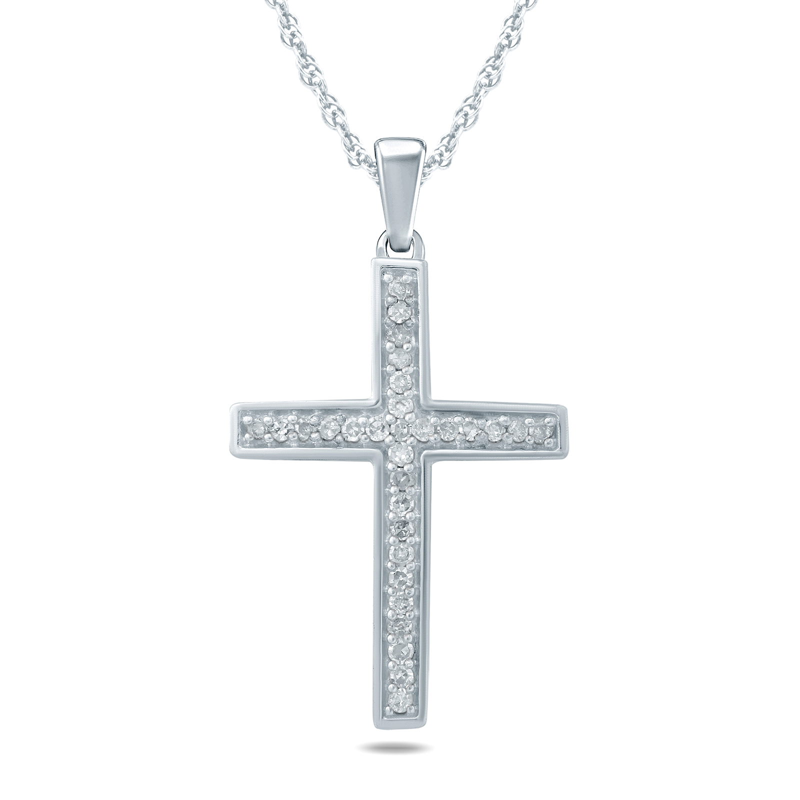 1/10 Carat TW Diamond Cross Pendant in 10K White Gold