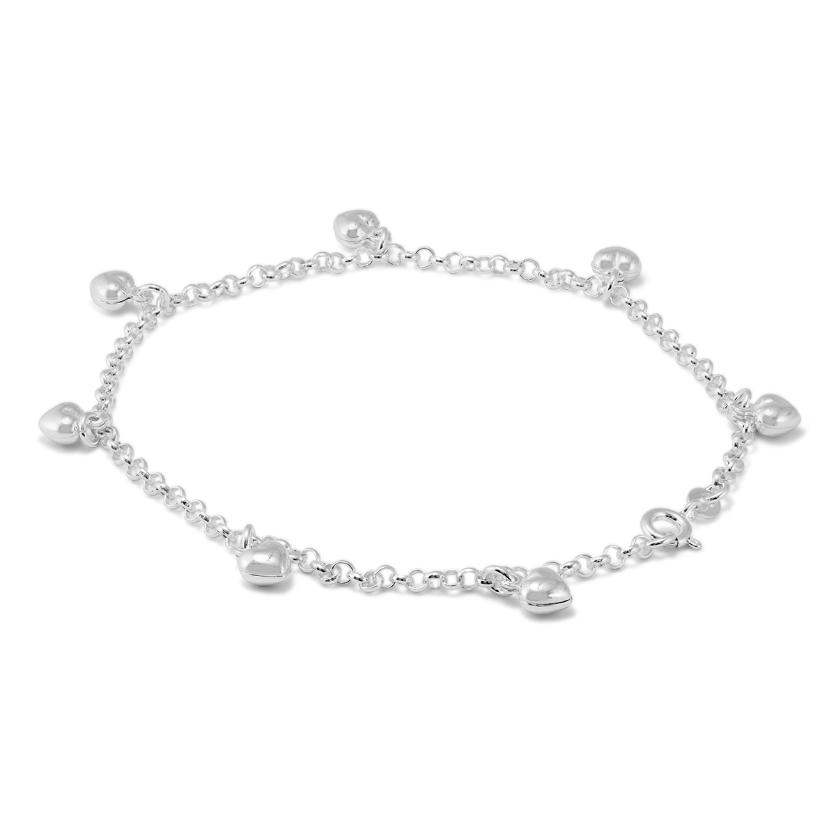 Heart Charm Anklet in 925 Sterling Silver