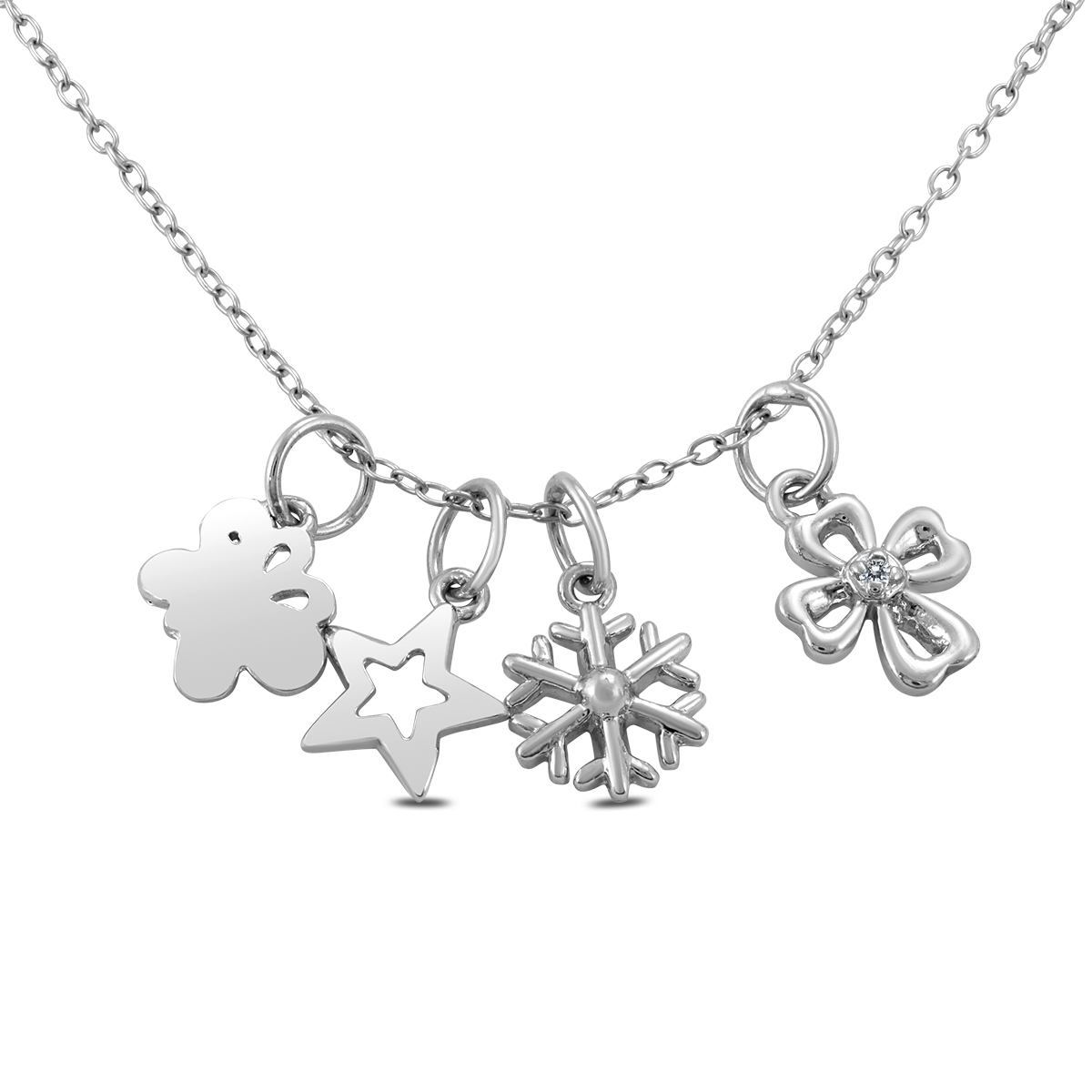 Diampond Accent Charm Necklace in .925 Sterling
