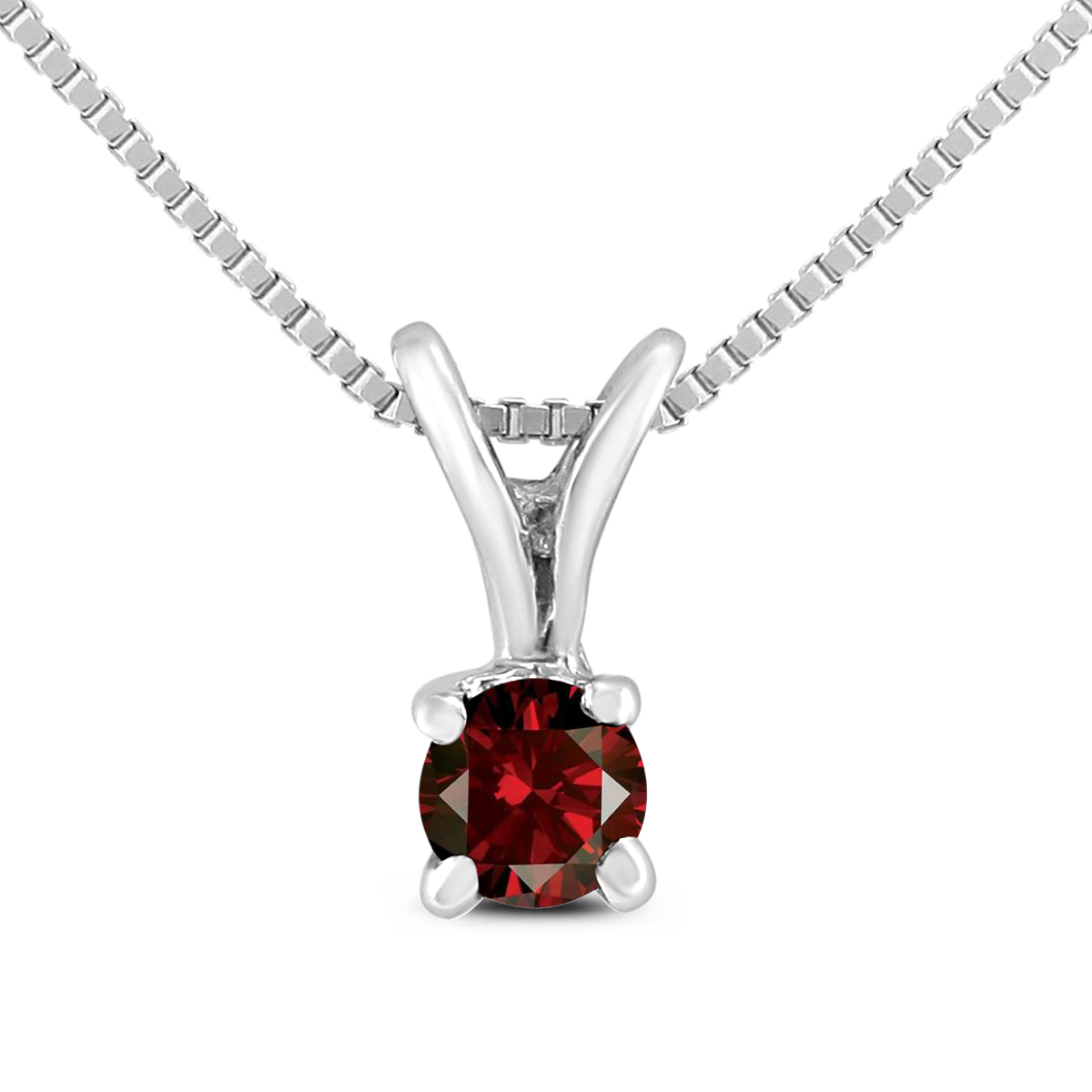 1/10 Carat Genuine Red Diamond Solitaire Pendant in .925 Sterling Silver