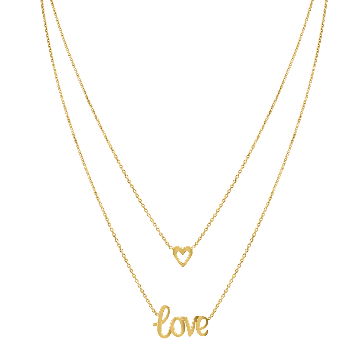 10K Yellow Gold Heart & Love Double Strand Necklace