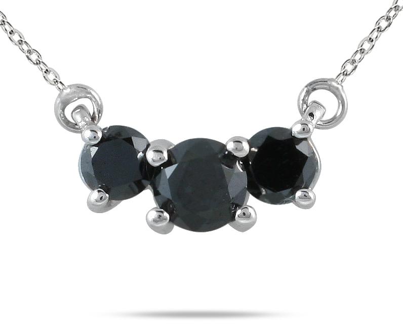1/2 Carat TW Black Diamond Three Stone Pendant Necklace 14K White Gold