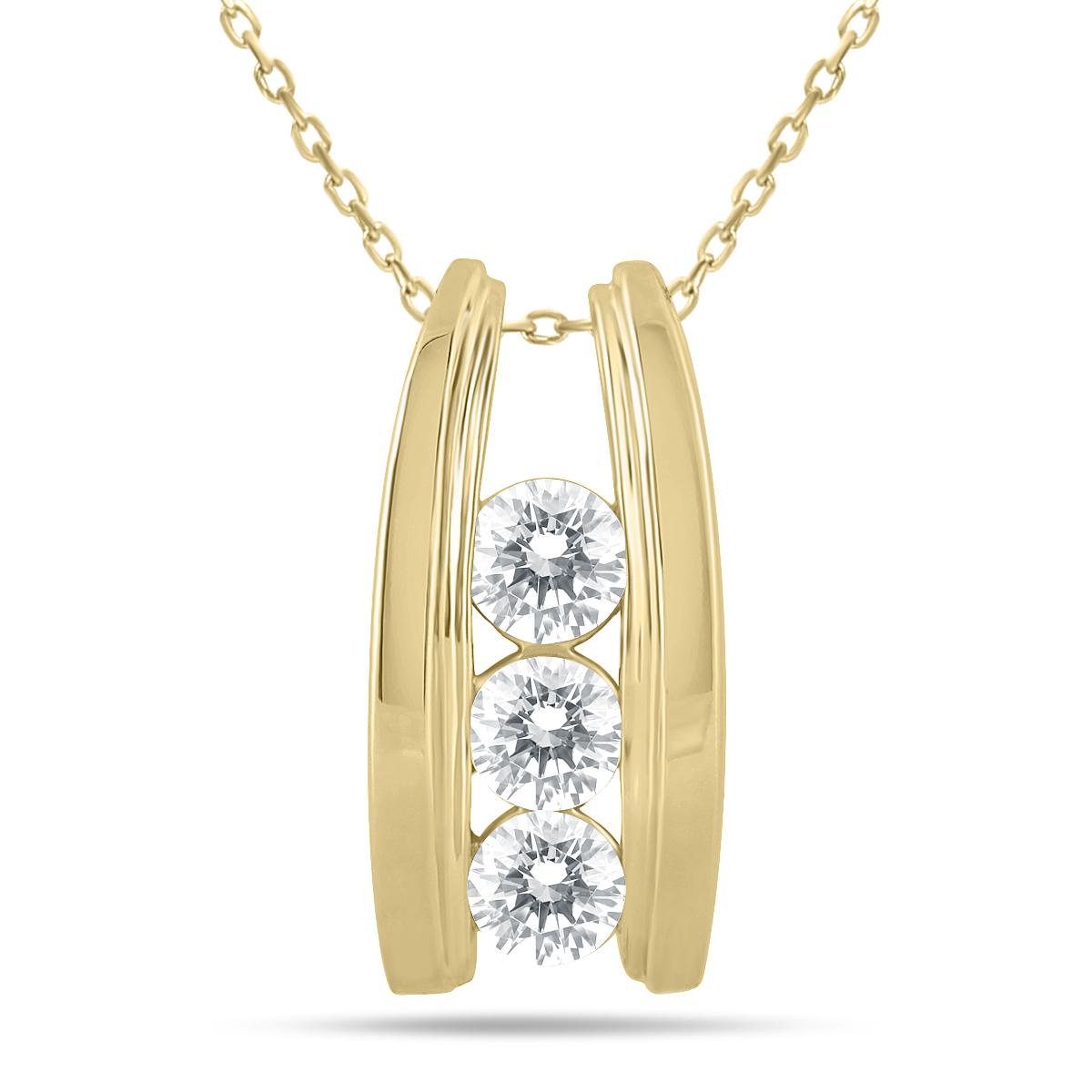 1 Carat TW Bar Set Three Stone Diamond Pendant in 14k Yellow Gold