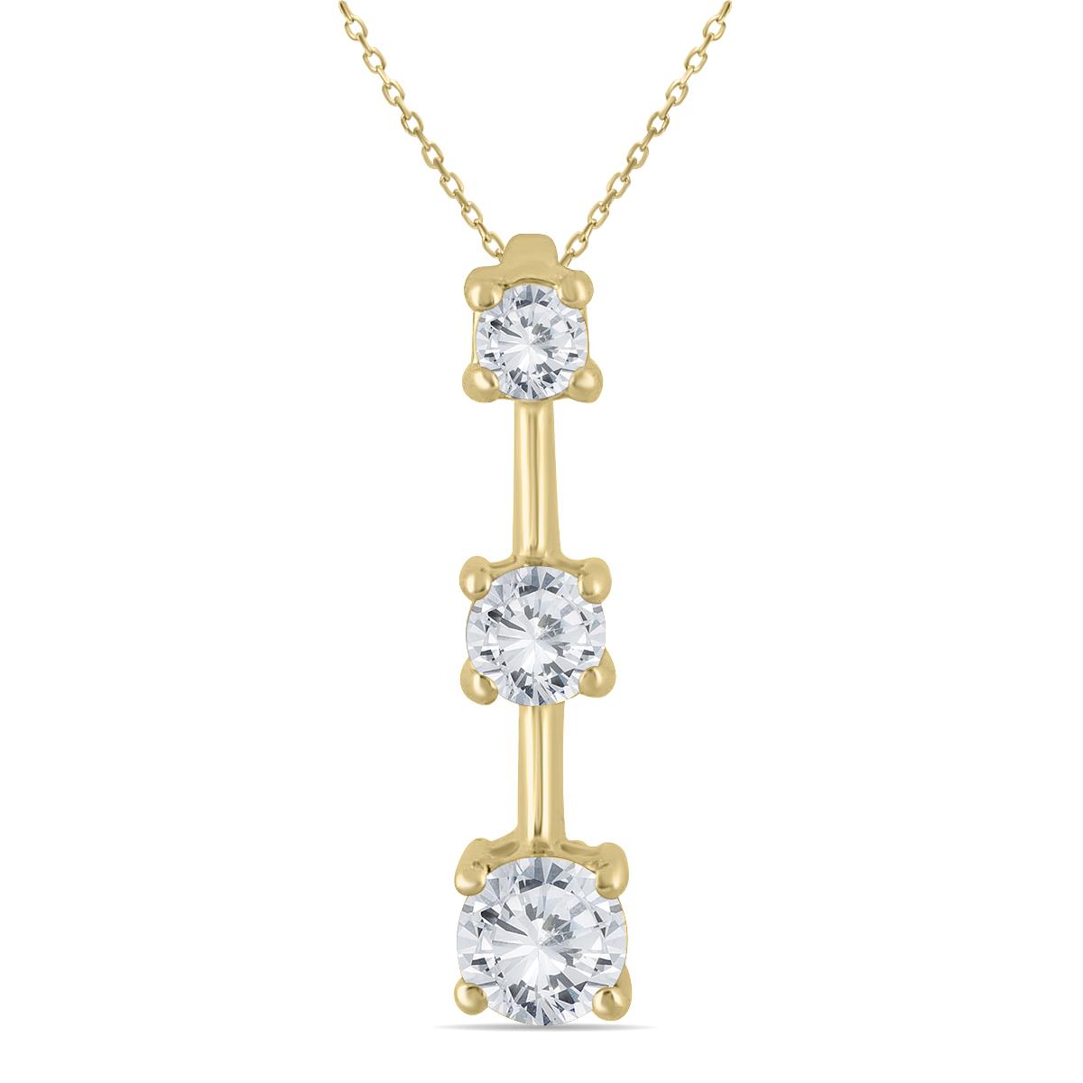 1 Carat TW Three Stone Diamond Pendant in 14K Yellow Gold
