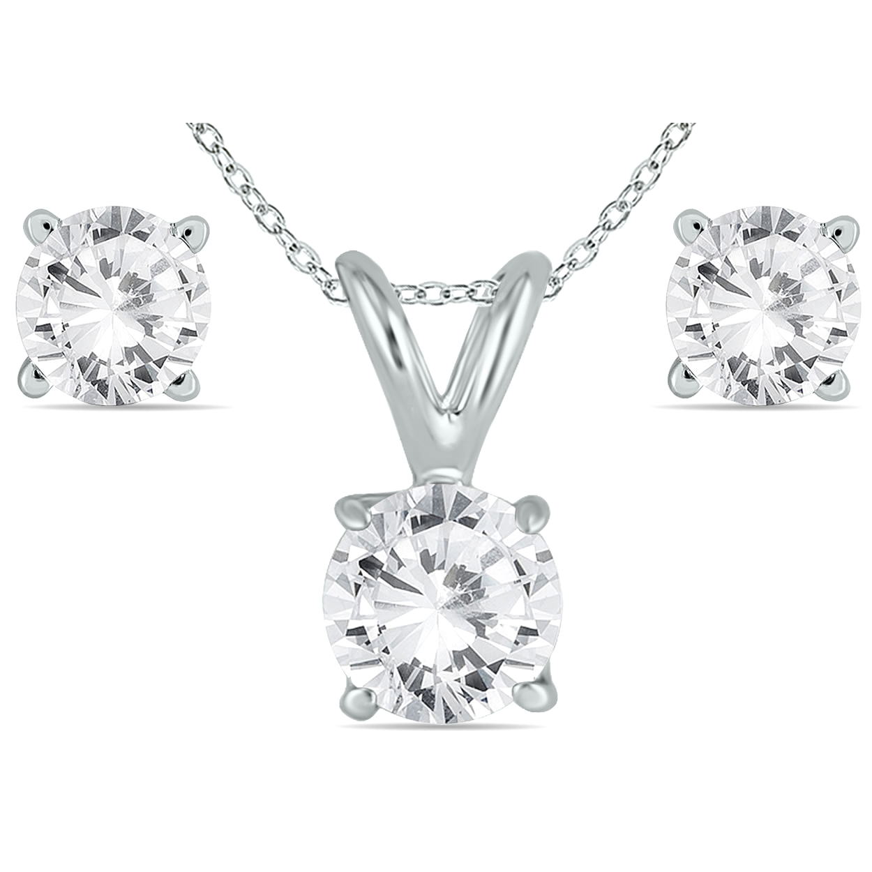 5/8 Carat Tw Diamond Pendant And Earring Set In 14k White Gold (h I Color, Si1 Si2 Clarity)
