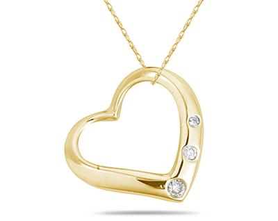 Three Stone Diamond Heart Pendant in 14k Yellow Gold