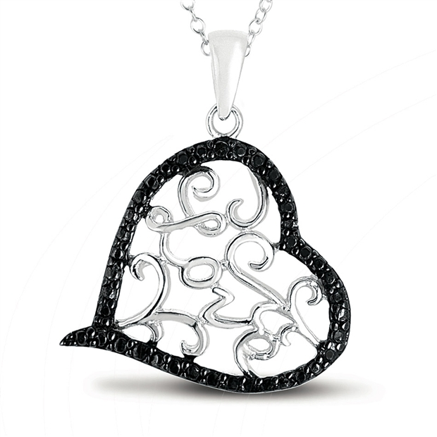 Black Diamond Heart Pendant in .925 Sterling Silver