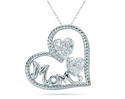 Diaomnd Heart MOM Pendant...