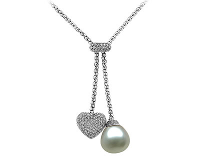 Natural South Sea Drop Pearl & Diamond Necklace in 18kt White Gold