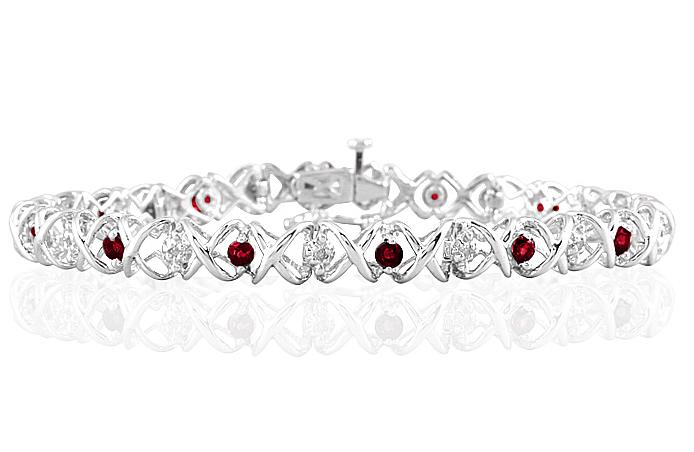 1.50 Carat TW Ruby and Diamond X Bracelet 10K White Gold