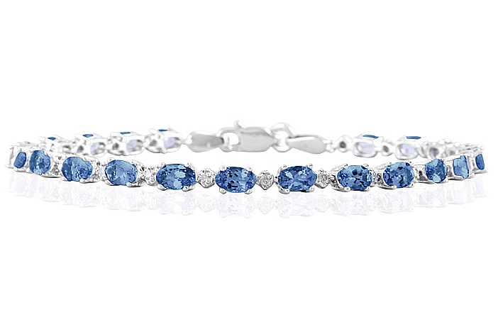 5.30 Carat Tw Sapphire And Diamond Bracelet In 10k White Gold