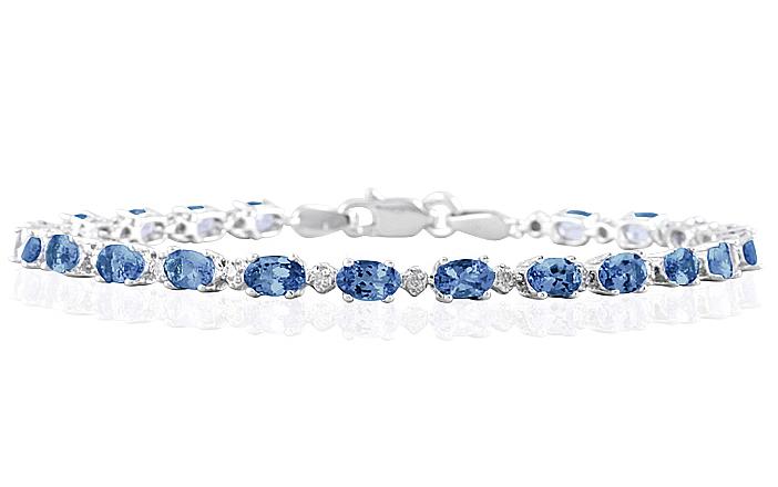 5.30 Carat TW Sapphire and Diamond Bracelet in 10K White Gold