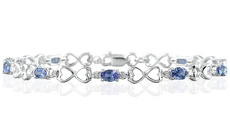 10k White Gold Tanzanite and Diamond Heart Link Bracelet