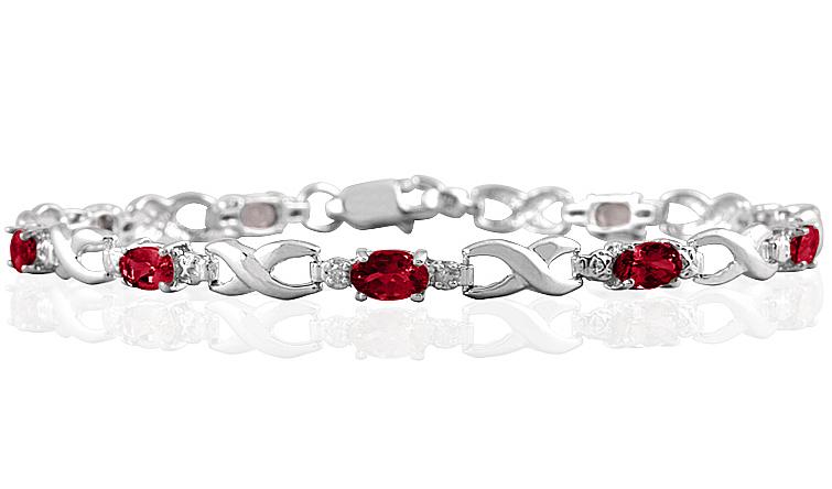 10k White Gold Ruby and Diamond Hugs and Kisses Bracelet