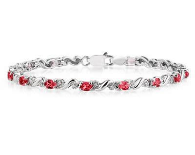 szul.com 10k White Gold Diamond and Ruby Bracelet