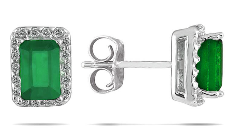 1 1/10 Carat Emerald and Diamond Earrings in 14K White Gold