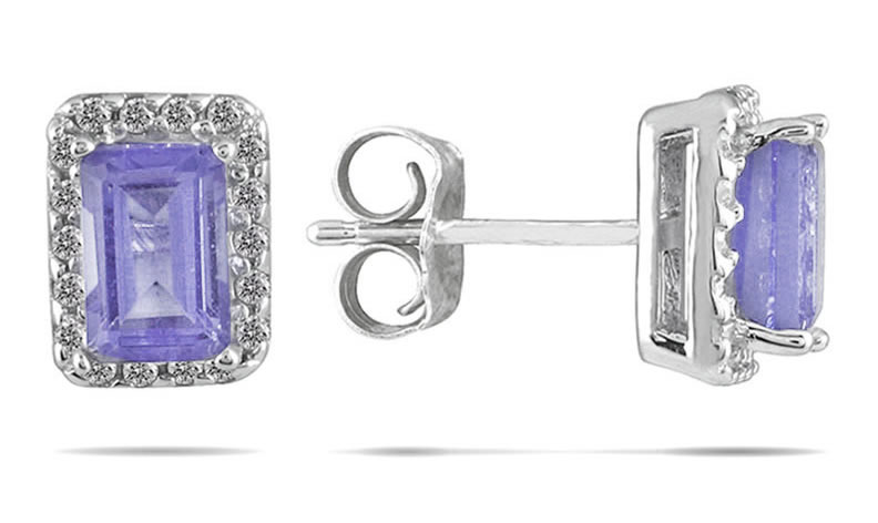 tanzanite and diamond earrings in 14k white gold