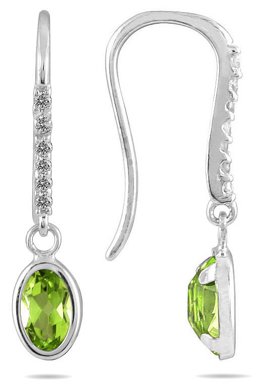 1 1/5 Carat Bezel Set Oval Peridot and Diamond Earrings in 10K White Gold