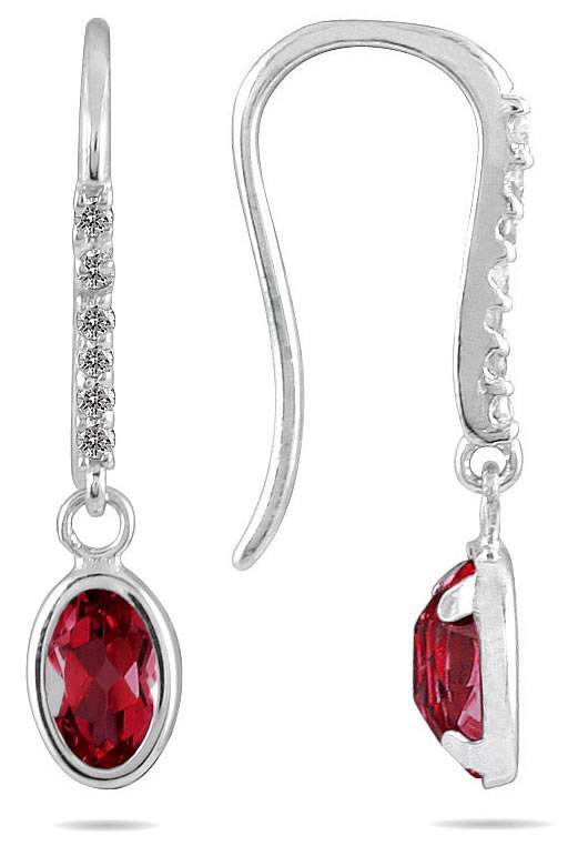 1 1/2 Carat Bezel Set Oval Ruby and Diamond Earrings in 10K White Gold