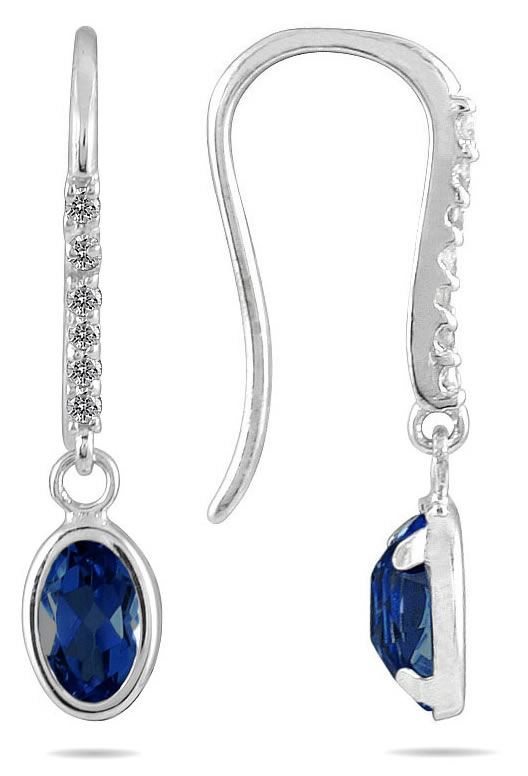 1 1/5 Carat Bezel Set Oval Sapphire and Diamond Earrings in 10K White Gold