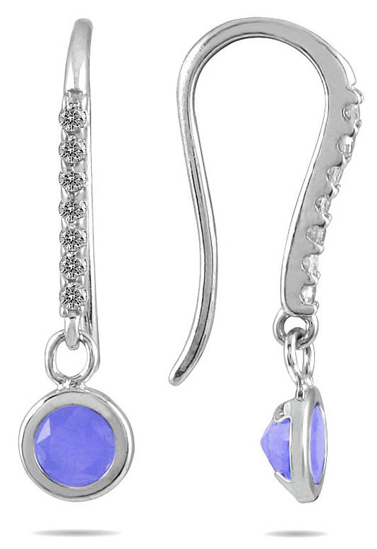 Bezel Set Round Tanzanite And Diamond Earrings In 14k White Gold