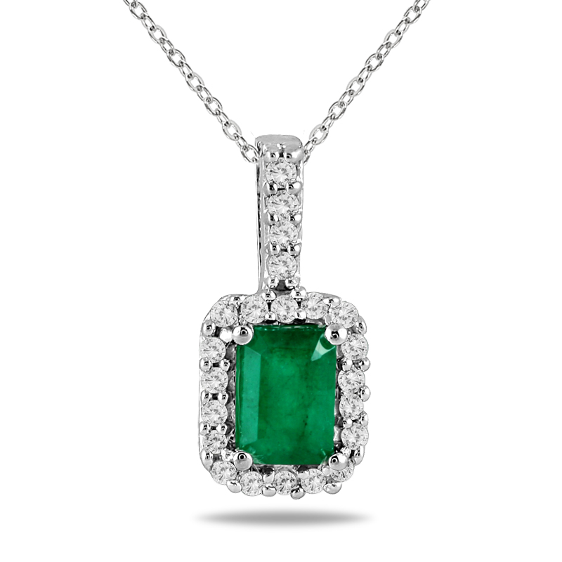 szul.com 1/10 Carat TW Diamond and Emerald Pendant in 10K White Gold at Sears.com