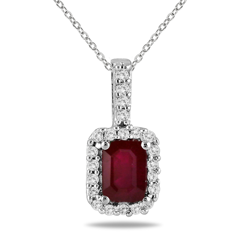 1/10 Carat Diamond and Ruby Pendant in 10K White Gold
