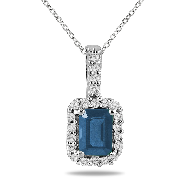 1/10 Carat Diamond and Sapphire Pendant in 10K White Gold