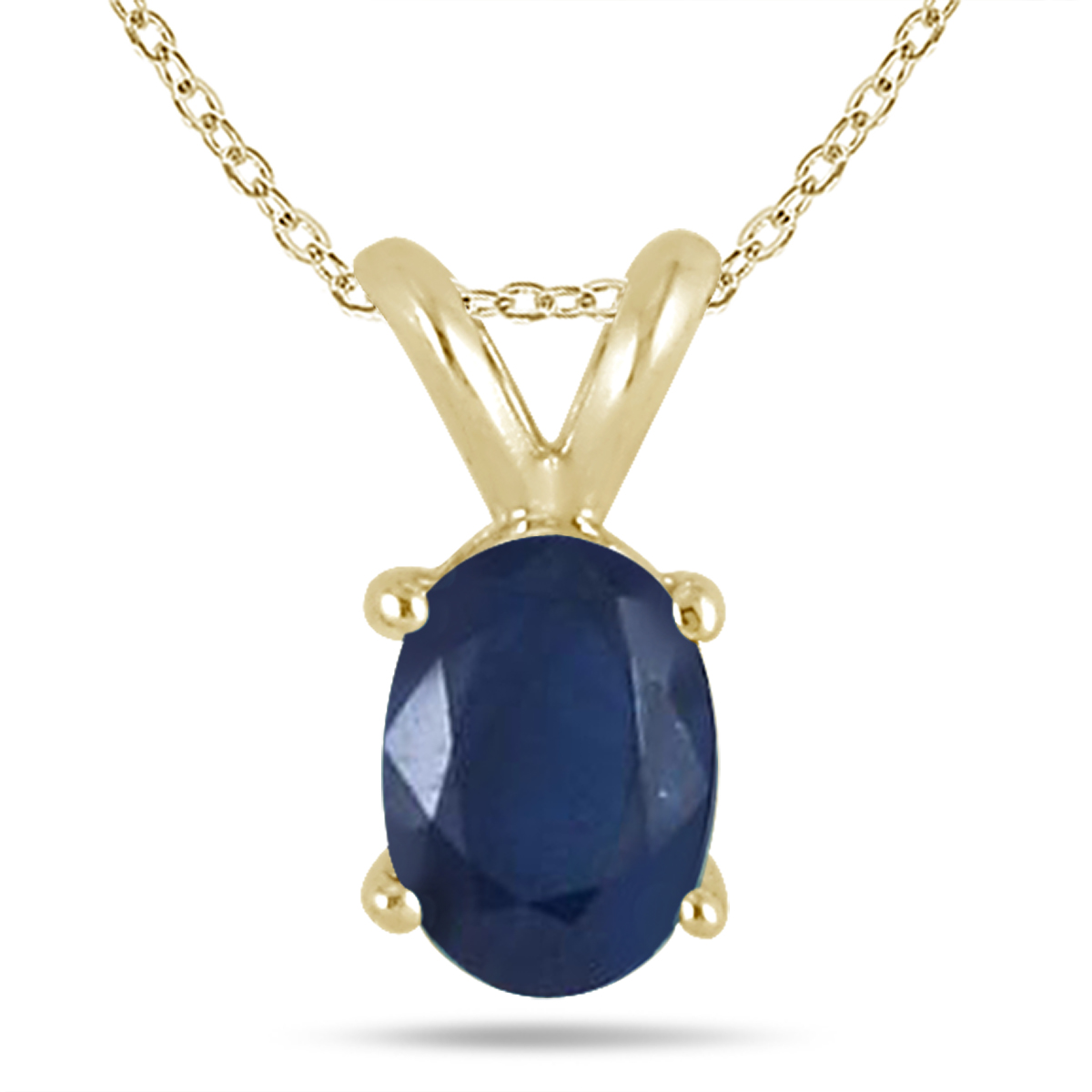 All-Natural Genuine 6x4 mm, Oval Sapphire pendant