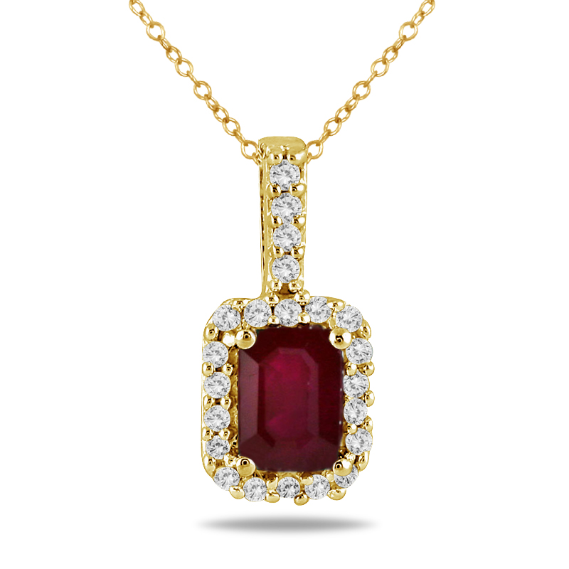 1/10 Carat Diamond and Ruby Pendant in 10K Yellow Gold