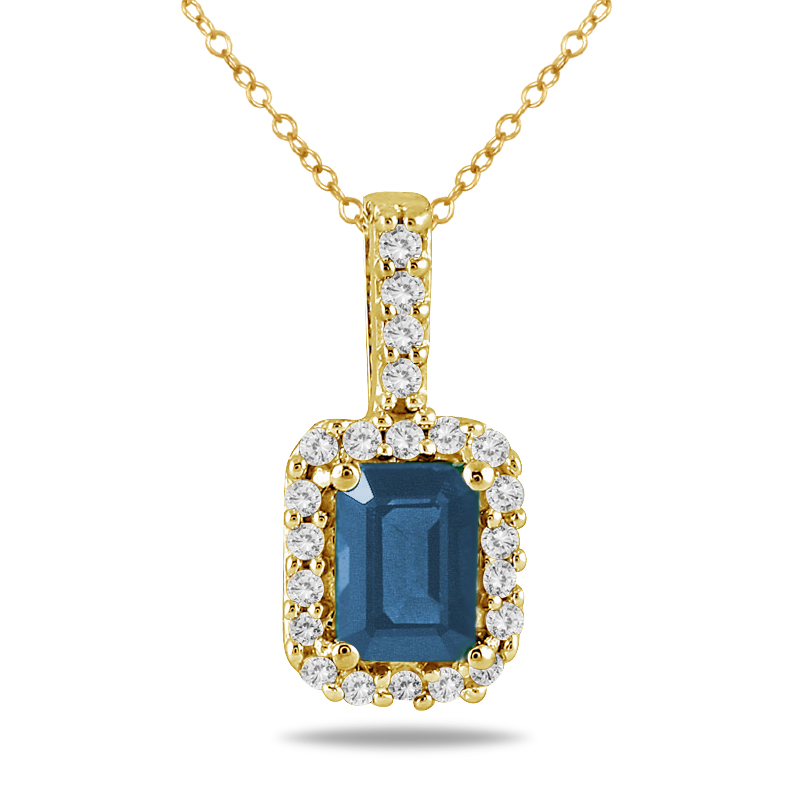 1/10 Carat Diamond and Sapphire Pendant in 10K Yellow Gold