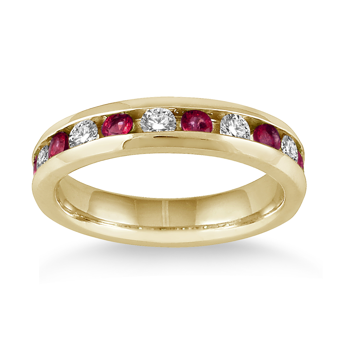 3/4 Carat Ruby and Diamond Band in 14k Yellow Gold