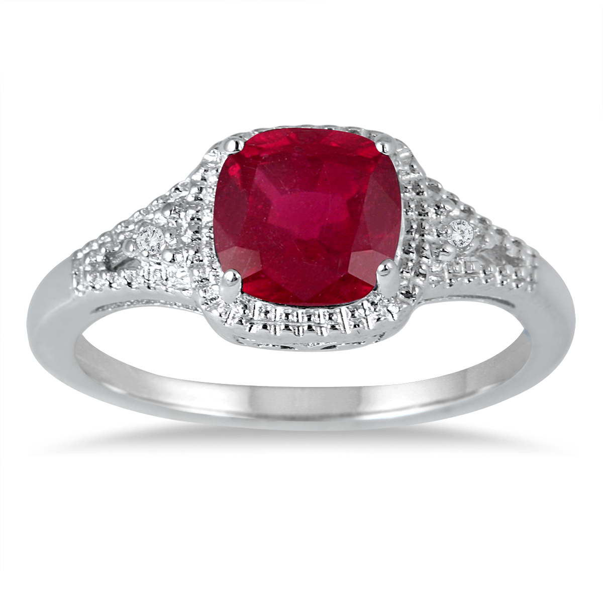 szul.com 7MM Created Ruby and Diamond Ring in .925 Sterling Silver at Sears.com