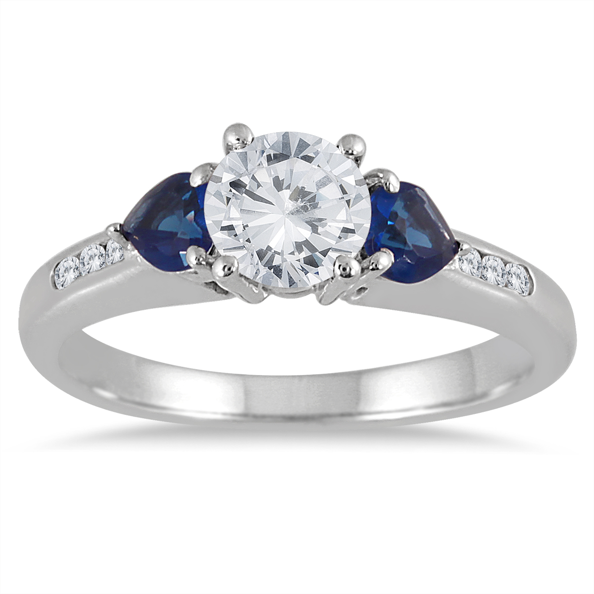 1 Carat Diamond and Sapphire Ring in