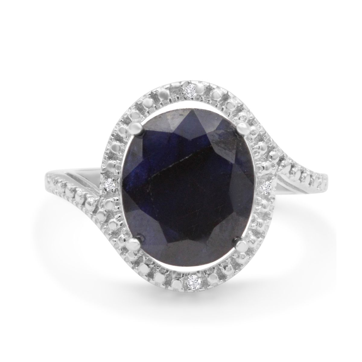 5 1/2 Carat Oval Sapphire and Halo Diamond Ring In Sterling Silver