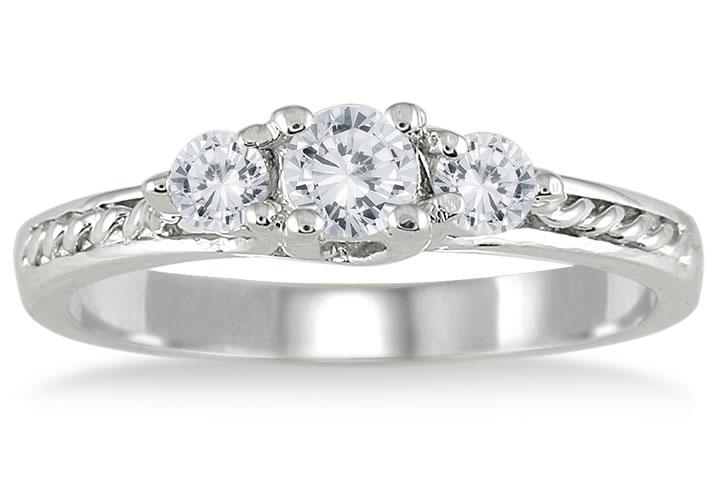 1/2 Carat TW Three Stone Diamond Ring