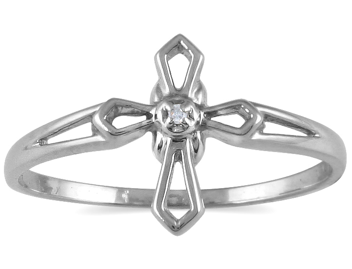 .05 Carat Diamond Cross Ring in 10K White Gold