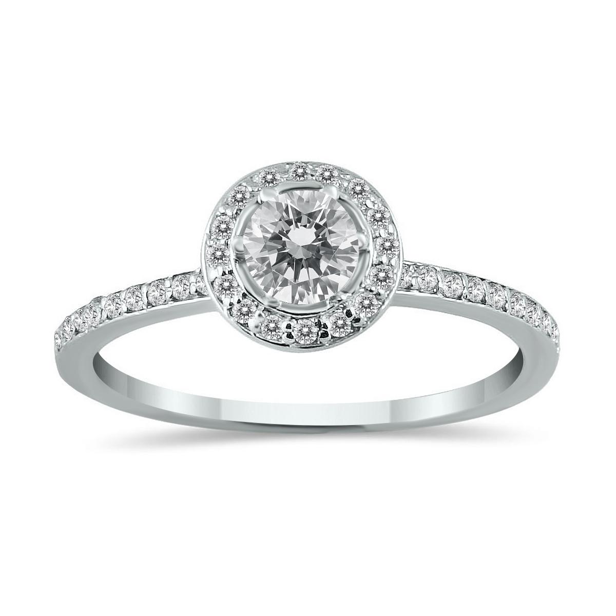 1/2 Carat TW Diamond Halo Ring in 14K White Gold