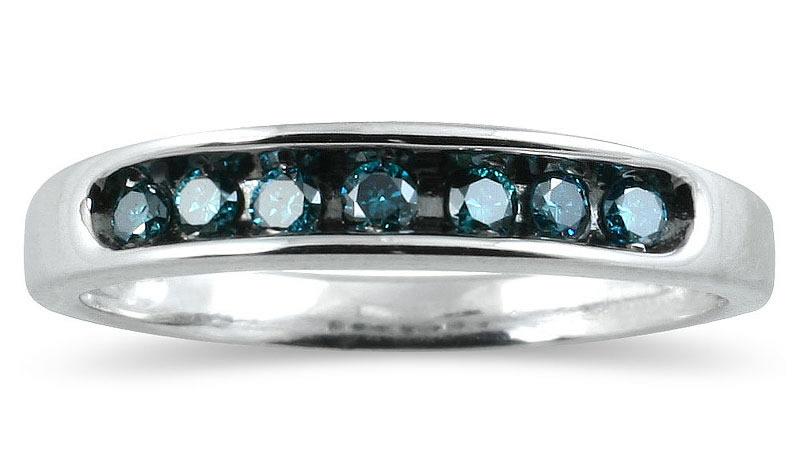 1/4 Carat TW Blue Diamond Ring in 10K White Gold