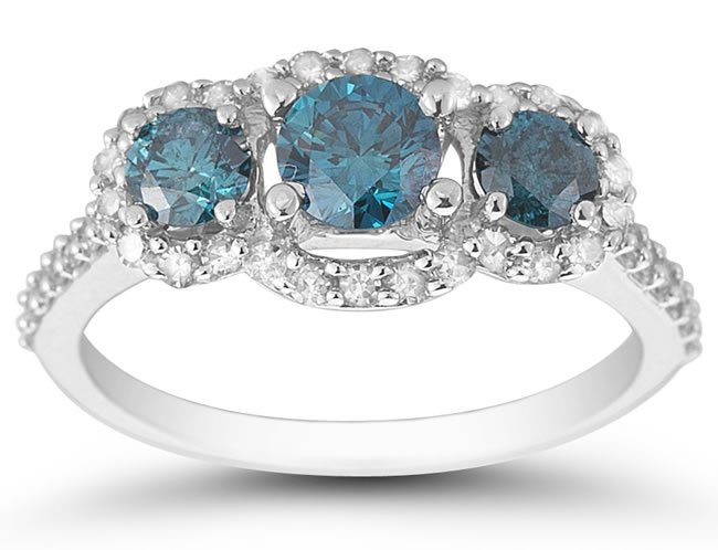 1.40 Carat TW Blue and White Three Stone Ring in 10K White Gold