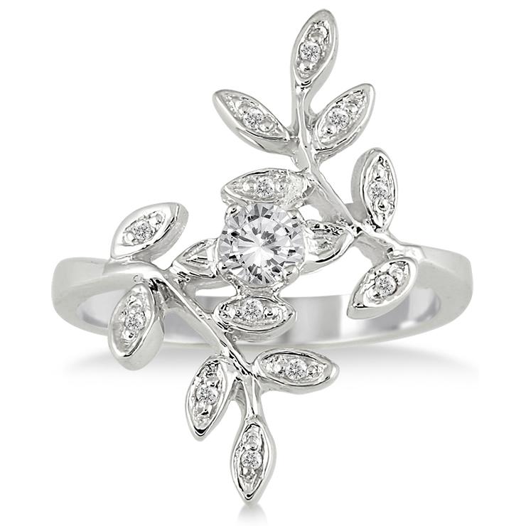 1/3 Carat TW Antique Leaf Ring in 10K White Gold