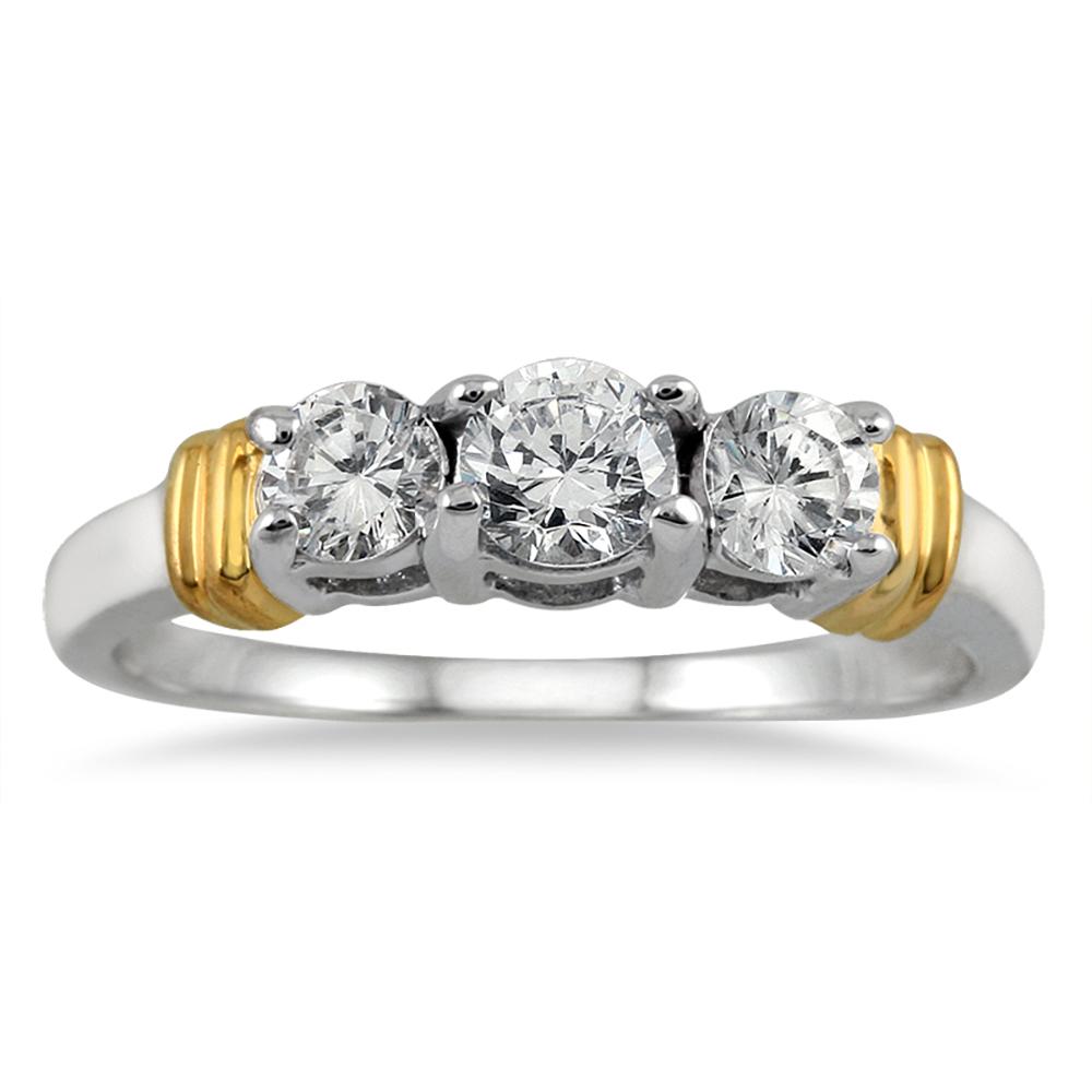 1 Carat TW Three Stone Diamond Ring in Two Tone 14K White Gold