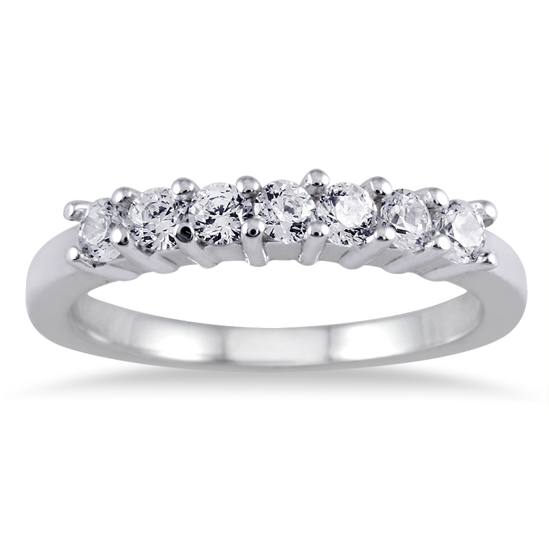 1/2 Carat TW Seven Stone Diamond Wedding Band in 10K White Gold