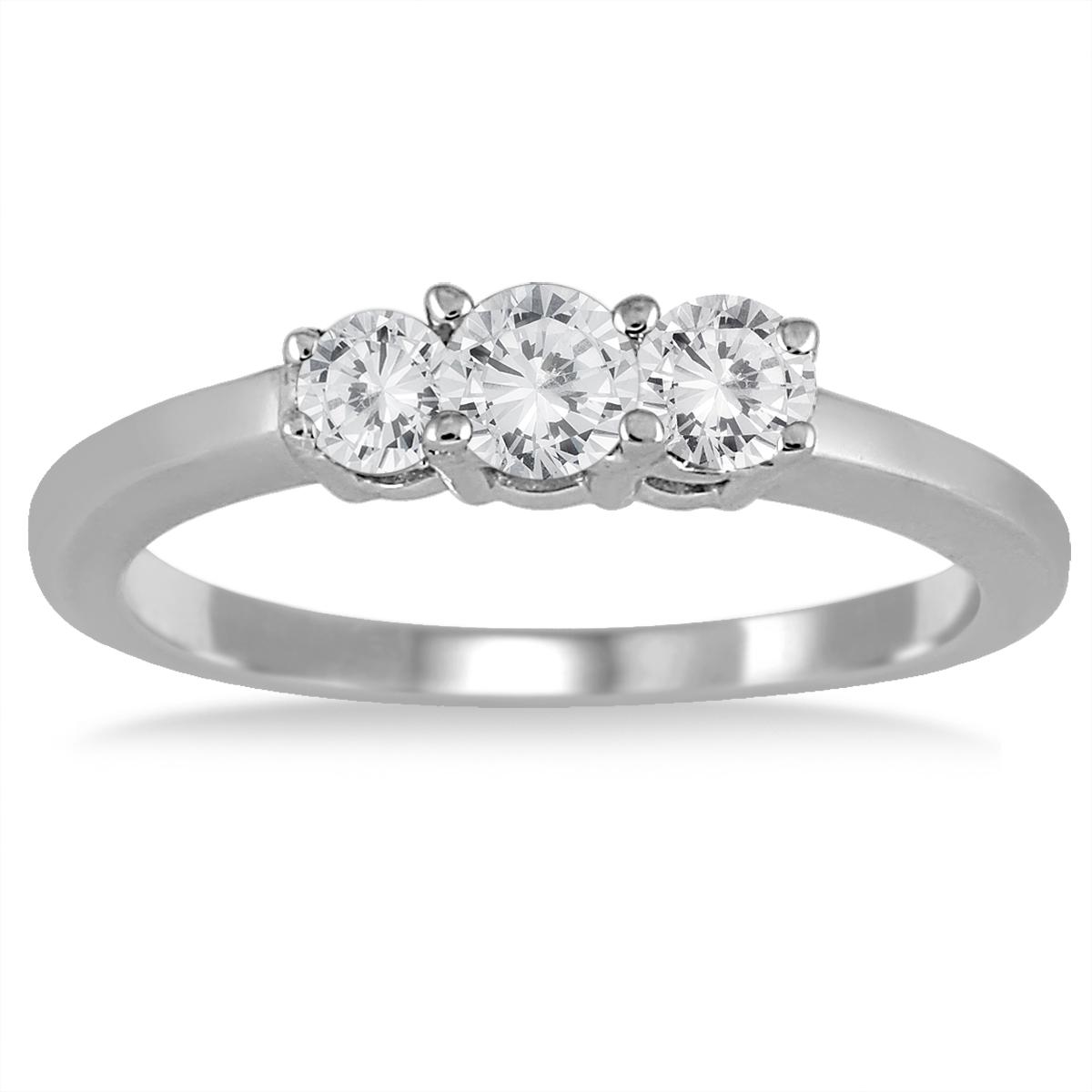 1/2 Carat Three Stone Diamond Ring in .925 Sterling Silver