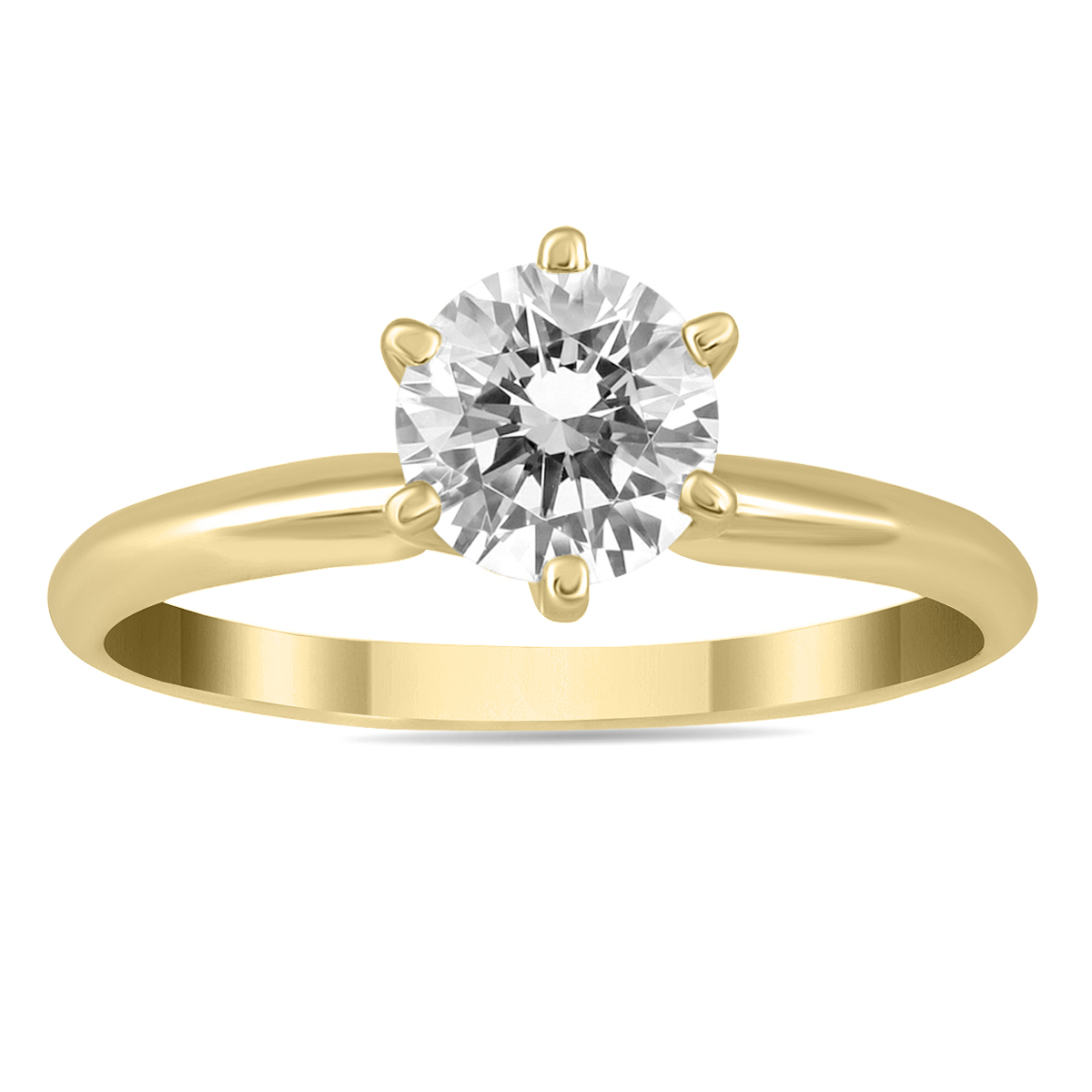 1 Carat Diamond Solitaire Ring in 14K Yellow Gold