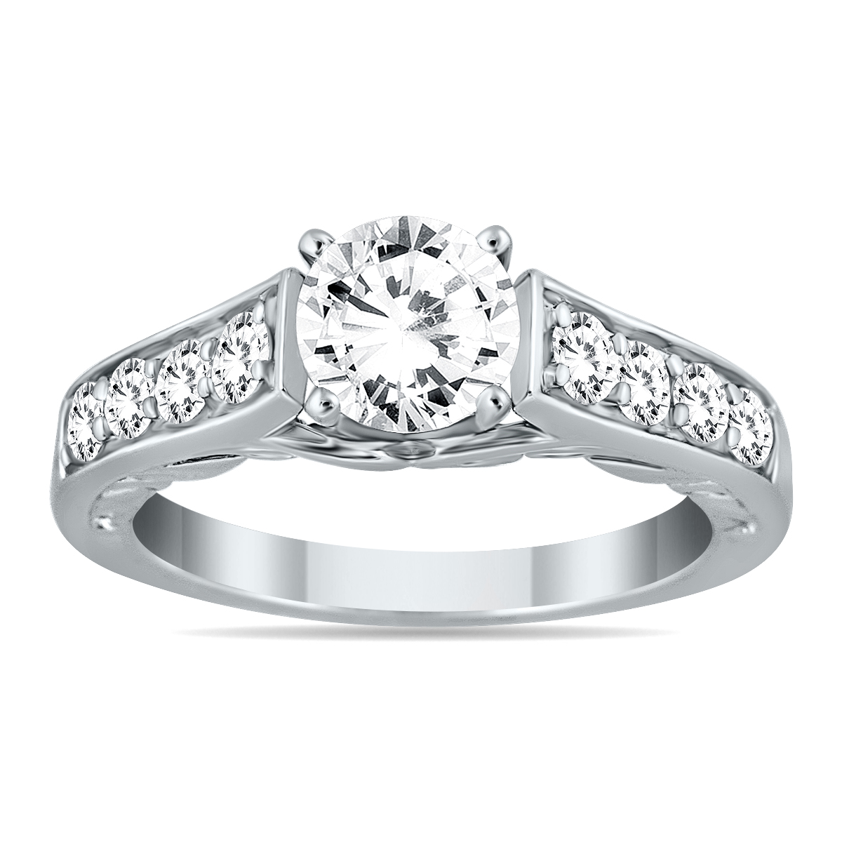 AGS Certified 1 1/2 Carat TW Diamond Ring in 14K White Gold (I-J Color, I2-I3 Clarity)